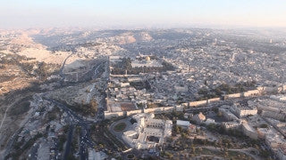 AJ_011E Aerial helicopter footage of entrance to Jerusalem and Calatrava String Bridge