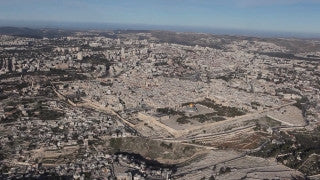 AJ_034n Aerial helicopter footage of Jerusalem long shot Har Homa and Bethlehem