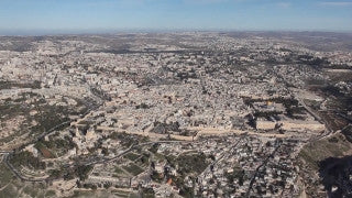 AJ_038n Aerial helicopter footage of Jerusalem Monastery and village of Ein Karem