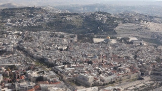 AJ_002E Aerial helicopter footage of Jerusalem Mt. Olives, with Old City in background