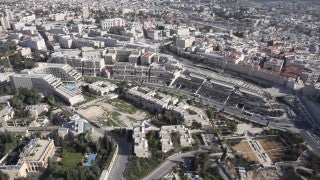 AJ_008E Aerial helicopter footage of Jerusalem: Mamila shopping center and Jaffa Gate