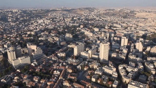AJ_010E Aerial helicopter footage of Jerusalem City Center