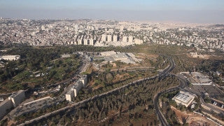 AJ_013E Aerial helicopter footage of Jerusalem - Knesset building and Givat Ram