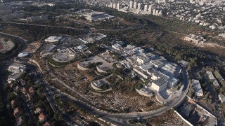 AJ_014E Aerial helicopter footage of Jerusalem - Knesset, Israel Museum, and Givat Ram