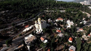 AJ_015E Aerial helicopter footage of Jerusalem - Monastery and village of Ein Karem