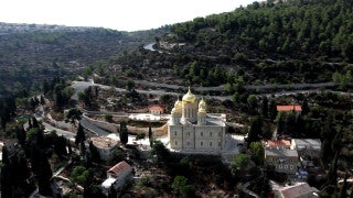 AJ_017E Aerial helicopter footage of Jerusalem - Low angle Monastery and village of Ein Karem