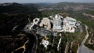 AJ_019E Aerial helicopter footage of Jerusalem - Hadasa Medical Center, Ein Karem
