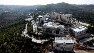 AJ_020E Aerial helicopter footage of Jerusalem - Hadasa Medical Center, Ein Karem