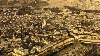 AJ_021n Aerial helicopter footage of Jerusalem Old City and Jaffa Gate from the west