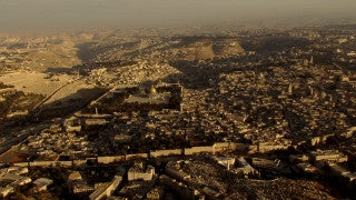 AJ_023n Aerial helicopter footage of Jerusalem Temple Mount and Old City from the north