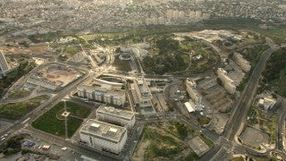 AJ_024n Aerial helicopter footage of Jerusalem Government Hill, Knesset, Supreme Court Hall