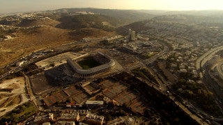 AJ_027n Aerial helicopter footage of Jerusalem Malcha Sport Center and shopping mall