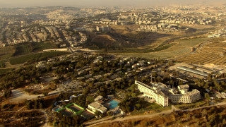 AJ_028n Aerial helicopter footage of Jerusalem Malcha Sport Center and shopping mall