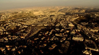 AJ_029n Aerial helicopter footage of Jerusalem Civic Center and Old City