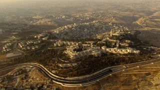 AJ_030n Aerial helicopter footage of Jerusalem Mt. Scopus and M. Olives Tunnel