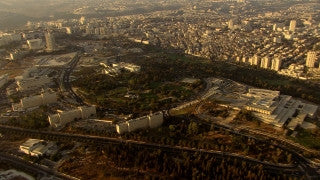 AJ_031n Aerial helicopter footage of Jerusalem Knesset Building and area