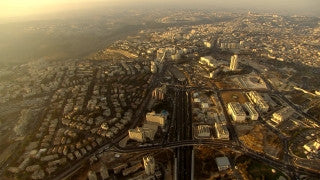 AJ_032n Aerial helicopter footage of Jerusalem Begin highway and city center