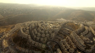 AJ_033n Aerial helicopter footage of Jerusalem Har Homa and Bethlehem