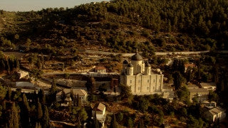 AJ_039n Aerial helicopter footage of Jerusalem Monastery and village of Ein Karem