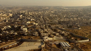 AJ_040n Aerial helicopter footage of Jerusalem - separation/security wall around Jerusalem