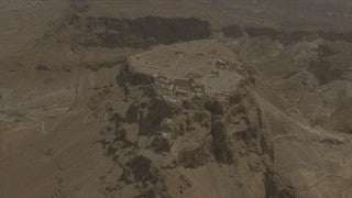 AM4K_001 Aerial 4K Masada: Circle Masada, fly back to reveal Dead Sea