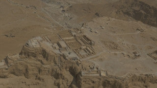 AM4K_006 4K Aerial Masada: Fly by ruins on Masada, reveal Dead Sea in background