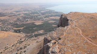 AN_013 Aerial helicopter footage of Northern Israel: Mt. Beatitudes Church and Sea of Galilee