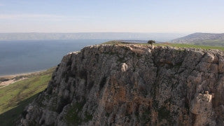 AN_004E Aerial helicopter footage of Northern Israel: Orthodox church in Capernaum, near Sea of Galilee