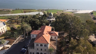 AN_006E Aerial helicopter footage of Northern Israel: Roman Catholic church in Mt. Beatitudes, Galilee