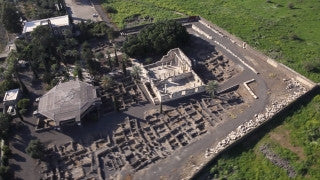 AN_009E Aerial helicopter footage of Northern Israel: Capernaum and Sea of Galilee