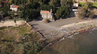 AN_010E Aerial helicopter footage of Northern Israel: Scots hotel in Sea of Galilee