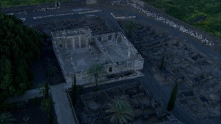 AN_012 Aerial helicopter footage of Northern Israel: Capernaum and Sea of Galilee