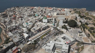 AN_016E Aerial helicopter footage of Northern Israel: Low altitude Old City of Acre - Akko