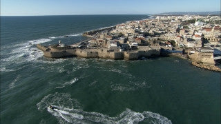 AN_021 Aerial helicopter footage of Northern Israel: the Old City of Acre from the sea