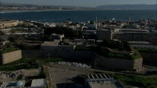 AN_024 Aerial helicopter footage of Northern Israel: Low altitude Old City of Acre