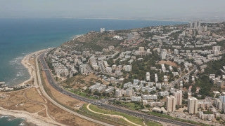 AN_026E Aerial helicopter footage of Haifa: southwest areas