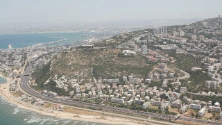 AN_027E Aerial helicopter footage of Haifa: city from the south