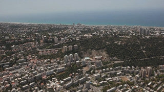 AN_031E Aerial helicopter footage of Haifa: high altitude city from the east