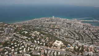 AN_032E Aerial helicopter footage of Haifa: city and port from the east