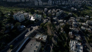 AN_042 Aerial helicopter footage of Haifa: Wadi Rushmiya and Halisa neighborhood