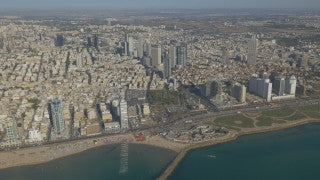 AT4K_012 Aerial 4K Tel Aviv: Tel Aviv skyline and coast