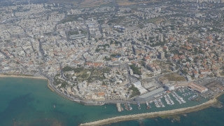 AT4K_017 Aerial 4K Tel Aviv: Jaffa coast and port