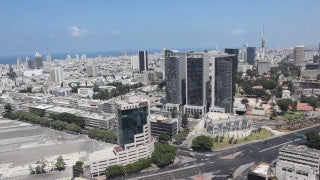 AT_002E Aerial helicopter footage of central Tel Aviv, Ayalon Highway and Azrieli towers