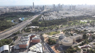 AT_006E Aerial helicopter footage of Tel Aviv Ayalon HWY, Rokach Blvd, park