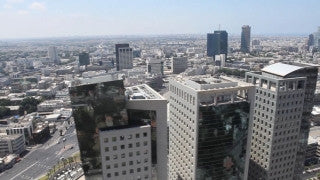 AT_001E Aerial helicopter video of central Tel Aviv, Ayalon Highway and Azrieli towers