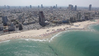 AT_010E Aerial helicopter footage of Tel Aviv sea shore