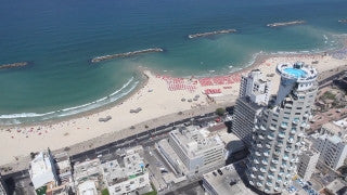 AT_014E Aerial helicopter footage of Tel Aviv Hayarkon St. and sea shore