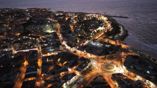 AT_025E Aerial helicopter footage of Tel Aviv Jaffa at night