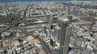 AT_028E Aerial helicopter footage of Tel Aviv Ramat Gan diamond district and highways