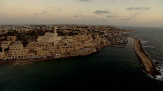 AT_038N Aerial helicopter footage of Tel Aviv: Jaffa from the sea